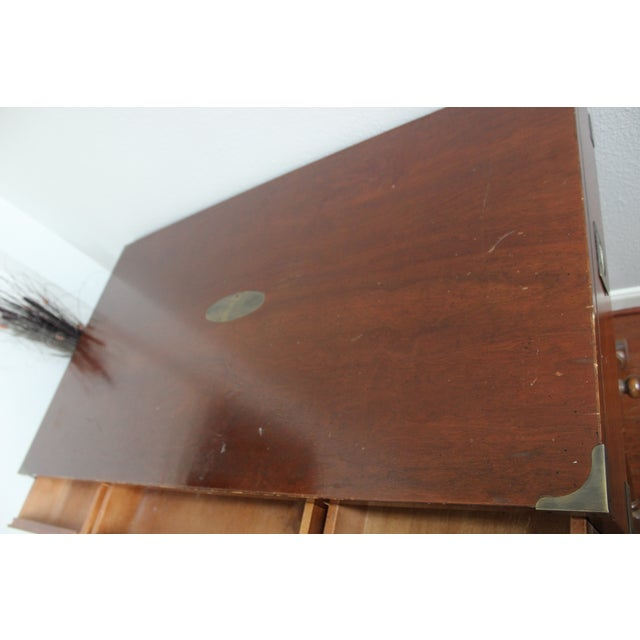 Gold Campaign Style Double X Base Writing Desk For Sale - Image 8 of 11