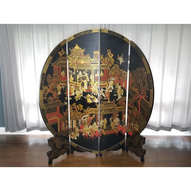 Black Large Vintage Black and Gold Round Asian Screen or Room Divider For Sale - Image 8 of 8
