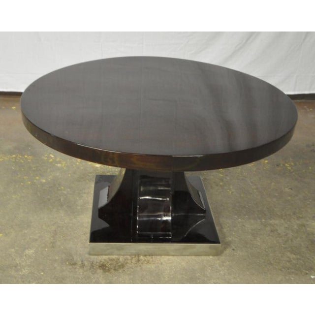 Maurice Dufrene modernist rosewood art deco coffee table with nickel base.