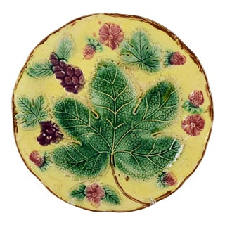 19th Century Majolica Yellow Grape Leaf & Strawberry Plate