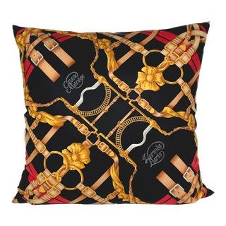 "Vintage Hermès ""Grand Manège"" Silk Scarf Pillow For Sale"