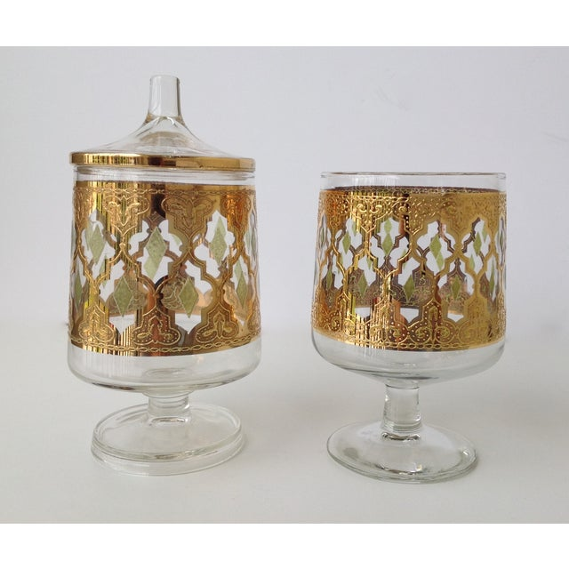 "Culver ""Valencia"" Gilt Footed Containers - Pair - Image 4 of 9"
