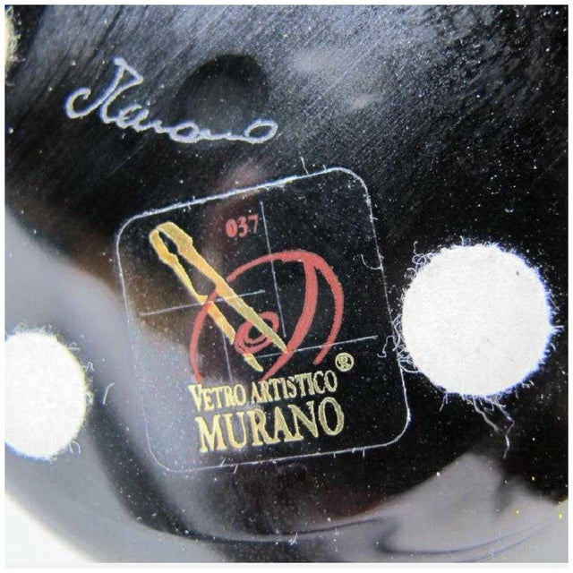 2010s Fendi Case Murano Signed Logo Arched Glass Black Vase For Sale - Image 5 of 12