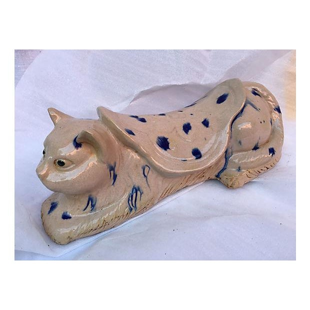 Chinese Blue & White Spotted Cat Opium Pillow - Image 2 of 6