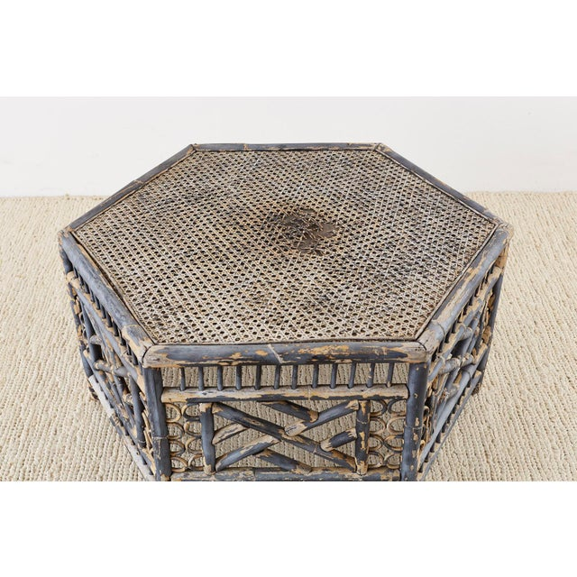 Mid 20th Century Hexagonal Bamboo Brighton Chinese Chippendale Cocktail Table For Sale - Image 5 of 13