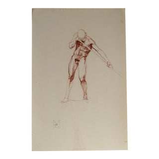 Benjamin F. Long IV Male Figure Holding Staff Extended Drawing For Sale