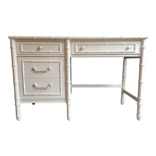 White Faux Bamboo Thomasville Desk For Sale