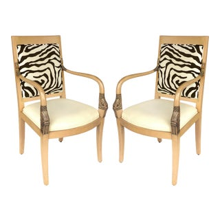 1980s Vintage Blond Wood & Zebra Print Upholstery & Dolphin Carved Armchairs- a Pair For Sale
