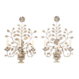1930s French Silver Leaf Sconces - a Pair For Sale