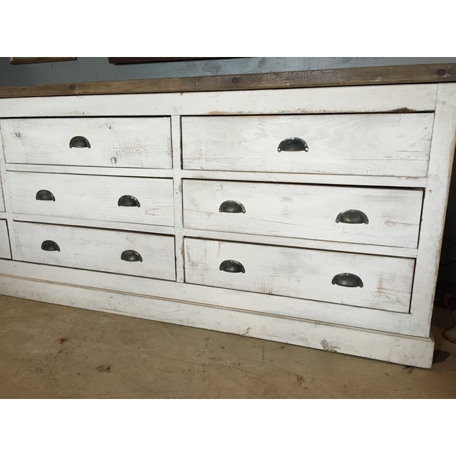 Vintage Weathered White Buffet or Triple Dresser - Image 3 of 11