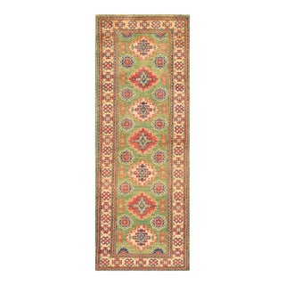 Apadana - Red and Green Indian Tabriz-Style Runner, 2' X 6'