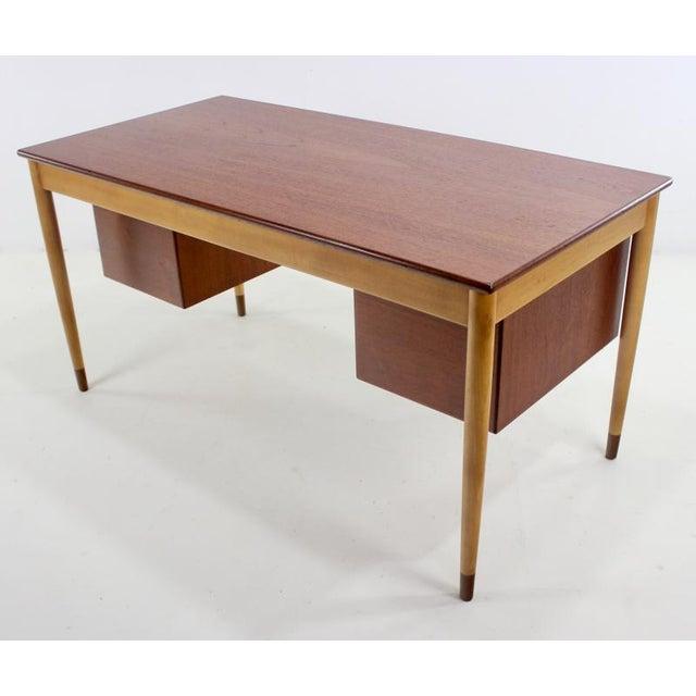 1950s Scandinavian Modern Teak, Beech & Walnut Desk Designed by Borge Mogensen For Sale - Image 5 of 7
