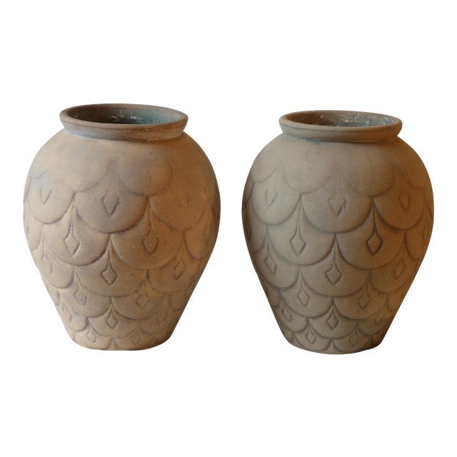 Mid-Century Ceramic Garden Urns - A Pair - Image 1 of 5