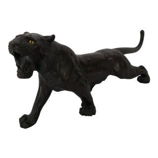 Early 20th Century Antique Meiji Period Bronze Tiger Sculpture For Sale