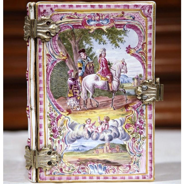 Bronze French Book Shaped Porcelain Jewelry Box For Sale - Image 7 of 9
