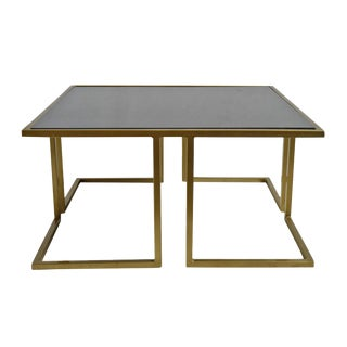 Modern Black Marble & Brass Coffee Table For Sale