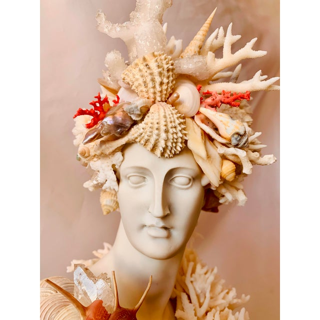 Ivory Classical Shell-Encrusted Marble Diana For Sale - Image 8 of 9