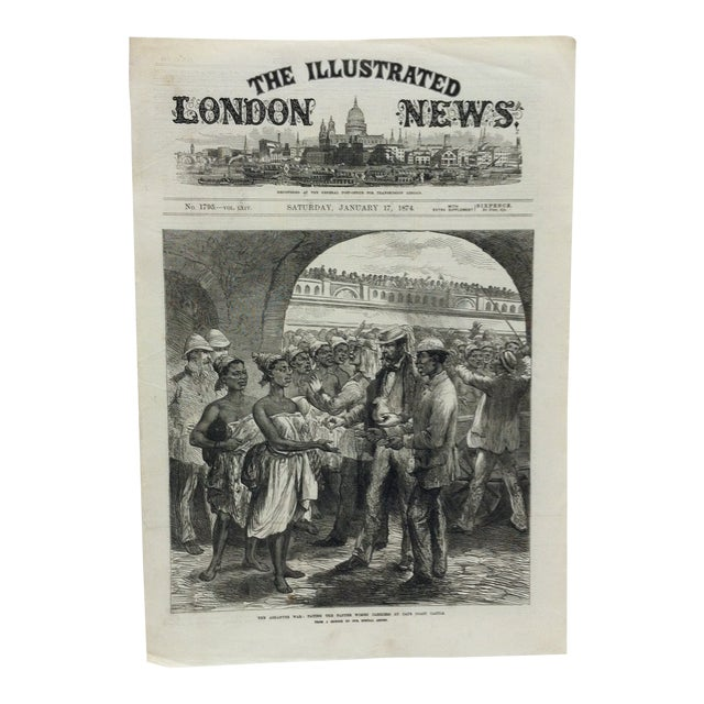 """1874 Antique Illustrated London News """"The Ashantee War: Paying the Fantee Women Carriers at Cape Coast Castle"""" Print For Sale"""