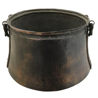 Antique Hand-Hammered Copper Cauldron | Dash-Hammered Solid Copper Cauldron For Sale