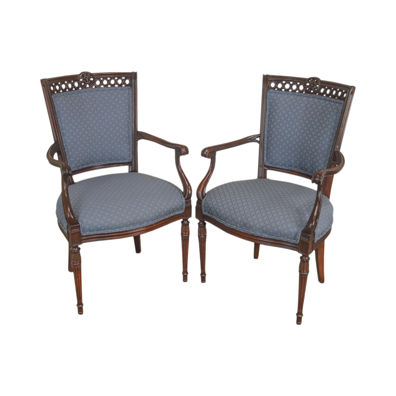 Vintage Used Blue Club Chairs Chairish