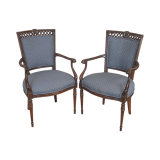 Regency Style Vintage Pair of Carved Mahogany Blue Upholstered Arm Chairs For Sale
