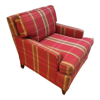 Mid-Century Medium Red Plaid Upholstered Club Chair For Sale
