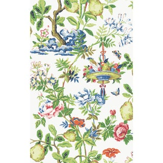 Red by Scalamandre Peel & Stick Wallpaper, Shantung Garden Peel, Bloom For Sale