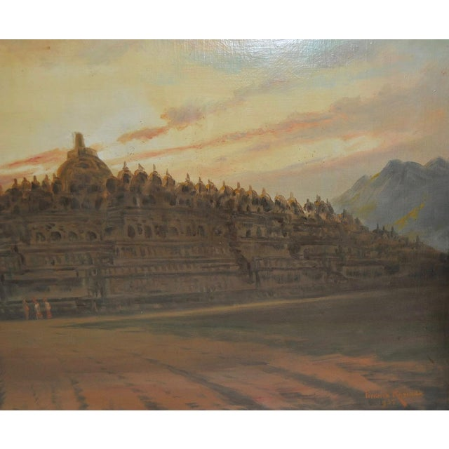 Mid 20th Century Mid-Century Javanese Temple Oil Painting by Frederik Kasenda C.1950s For Sale - Image 5 of 9