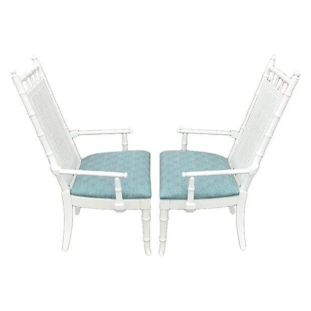 White Lacquered Faux-Bamboo Wicker Back Vintage Dining Chairs - Set of 5 For Sale - Image 4 of 12