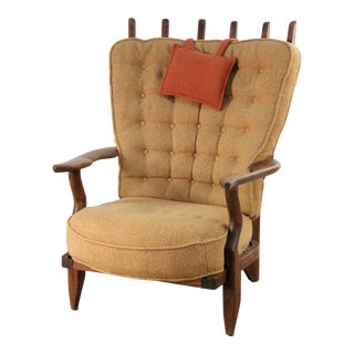 Guillerme Et Chambron Mid-Century French Slat Back Beige Upholstered Lounge / Armchair For Sale