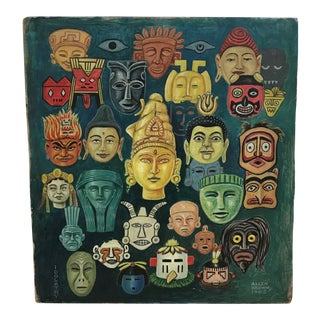 1960s Vintage Allen Brown Naive Iconography Oil and Acrylic on Masonite Painting For Sale