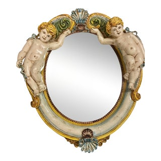 Della Robbia Style Italian Outdoor Mirror For Sale
