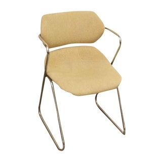 Unique Bent Metal White Vinyl Mid-Century Desk Chair For Sale