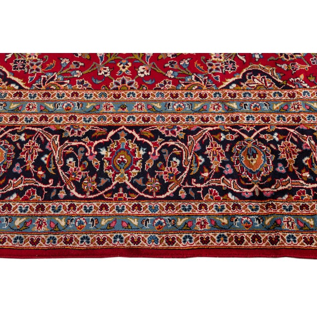 "1960s Vintage Persian Kashan Rug, 9'8"" X 13'1"" For Sale - Image 5 of 10"