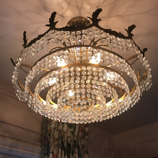 Art Deco Crystal and Brass Light Fixture - Image 3 of 7