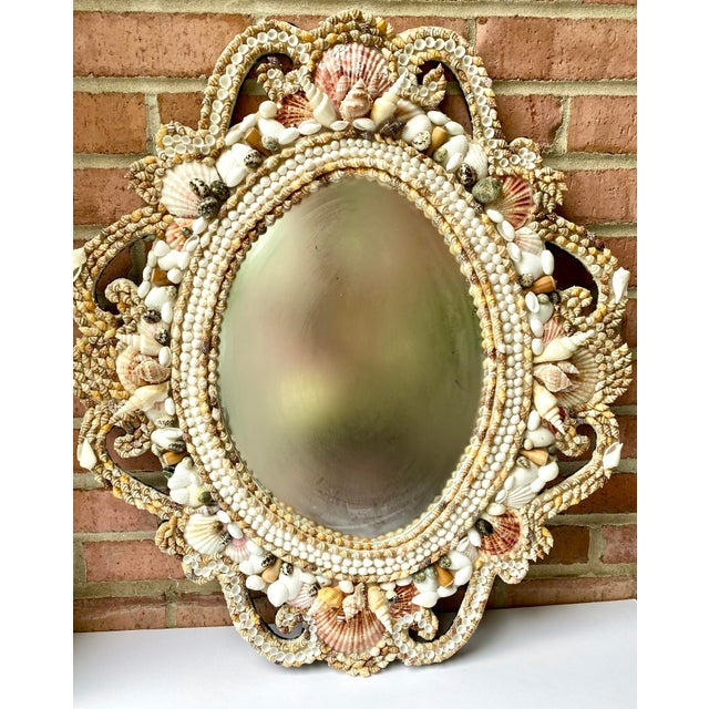 Hollywood Regency Style Shell Encrusted Mirror For Sale In Chicago - Image 6 of 13