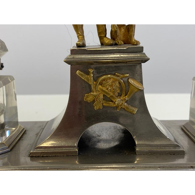 Gilt Bronze Brass and Cut Glass Horseman & Hound Dog Desk Inkwell Set For Sale In Philadelphia - Image 6 of 10