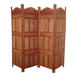 Anglo Indian Carved Teakwood Screen For Sale