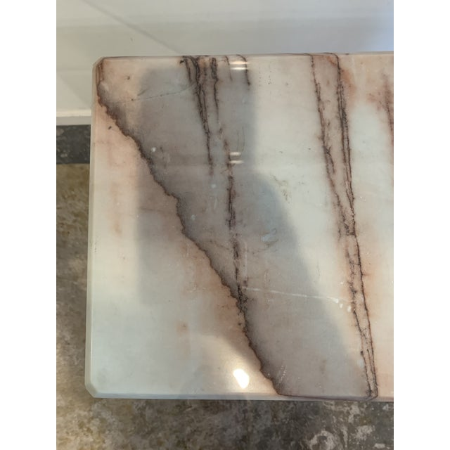 Glass 1970s Pink Marble Console With Thick Glass Top For Sale - Image 7 of 9
