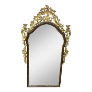 Italian Baroque Stye Giltwood and Ebonized Mirror For Sale