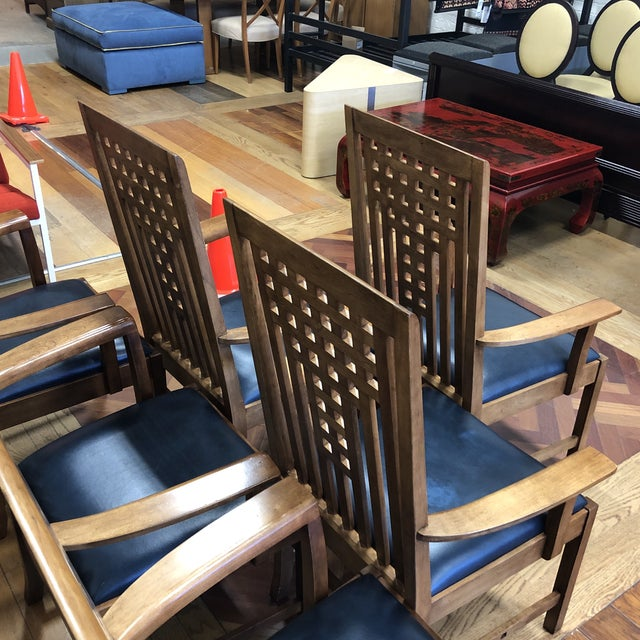 2010s Stickley Furniture Metropolitan Collection Lattice Back + Leather Armchairs- Set of Six For Sale - Image 5 of 13