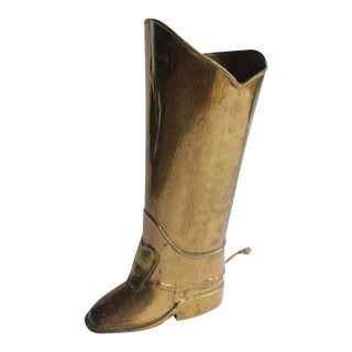English Brass Boot Umbrella Stand For Sale