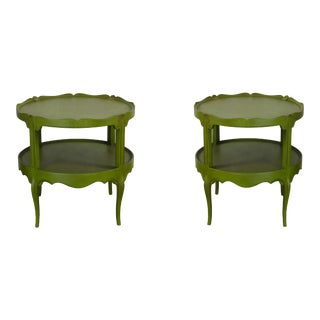 Vintage 2-Tiered Scalloped Side Tables - a Pair, Antique Green Side Tables For Sale