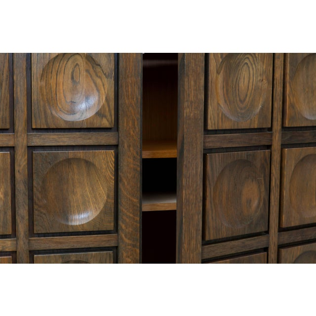 Oak Brutalist Stained Oak Credenza, 1970s For Sale - Image 7 of 11