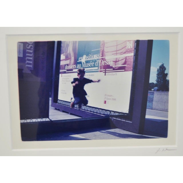 Photorealism Color Photograph of Child Jumping in Front of French Museum Poster For Sale - Image 3 of 5