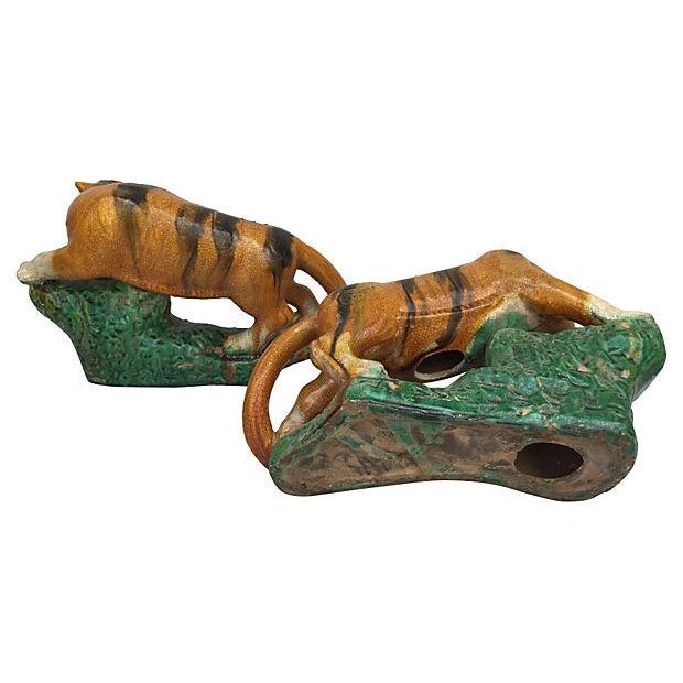 Majolica Majolica Glaze Terracotta Tigers - A Pair For Sale - Image 4 of 6