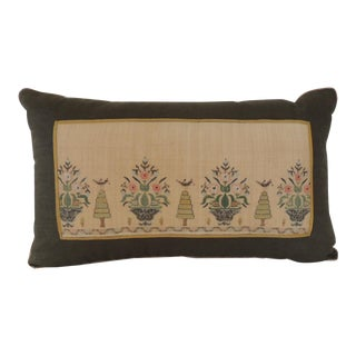 Green and Yellow Linen Turkish Embroidery Bolster Decorative Pillow For Sale