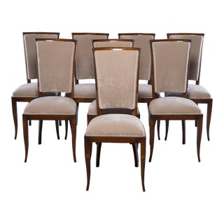 Set Eight Mid Century Italian Polished Walnut Chairs