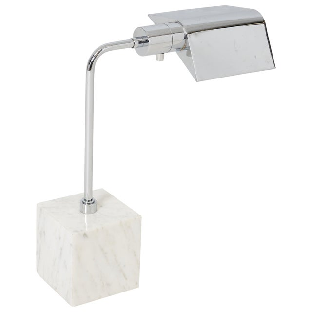 Marble and Chrome Desk Lamp, 1970s For Sale In Chicago - Image 6 of 6