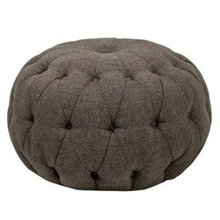 Grey Bombay Button Tufted Pouf Ottoman